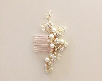 Delicate Bridal hair comb fascinator crystals gold pearls Rhinestones Ivory wedding
