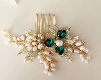Emerald hair comb, Pearl Hair comb, Golden hair comb, Bridal hair comb, Green Wedding - available in 1 week
