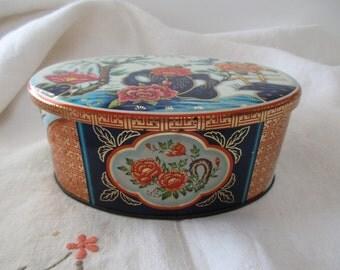 Daher vintage DECORATIVE TIN - gold, orange, white, floral, Asian, Made in ENGLAND