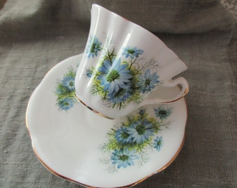 Vintage Lefton bone china CUP and SAUCER- cornflowers, blue, Made in England