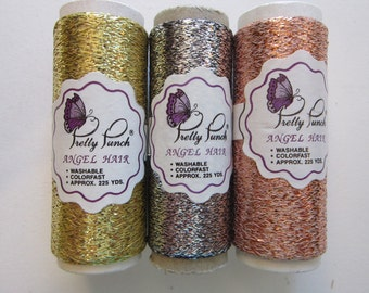 3 Pretty Punch Angel Hair metallic thread - silver, gold, and copper - 225 yards per spool