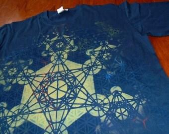 M Metatron's Cube Fractal Mandala Chakras T-Shirt Handpainted Sacred Geometry Mandala w/ Flower of Life, Honeycomb, Fractal Hexagons