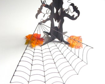 Small Eight Inch Black Spider Web, Simplistic Metal Spider Web, Halloween Decor