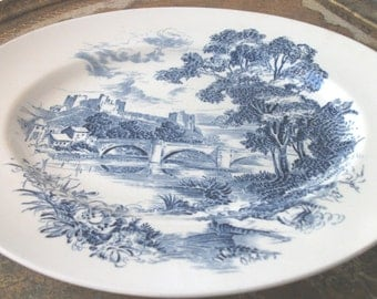 Vintage  Blue and White Countryside Wedgewood & Co. Ltd. Platter
