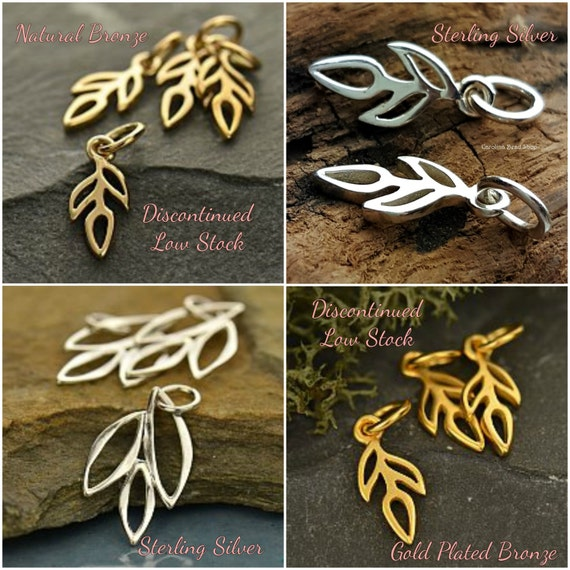 Sprout Charms & Marquis Leaf Charms - Select Your Favorite Style - Woodlands, Trees, Leaves, Tiny Charms, Dangles