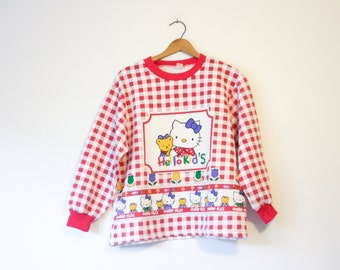 Vintage Hello Kitty Kids Checker Pattern Sweatshirt
