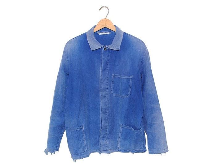 Vintage European Bright Blue Cotton Button Up Three Pocket Weathered Chore Coat - Medium