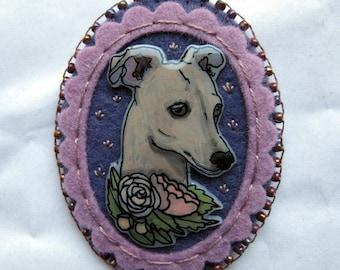 Illustrated Brooch - Greyhound