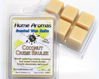 COCONUT CREME BRULEE Wax Melt - 6 breakaway cubes - soy blend - clamshell type