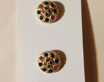 Multi-colored faux gemstones button by JHB International