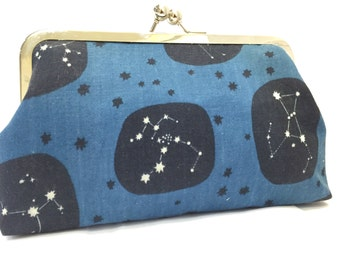 clutch purse - it's in the stars  - 8 inch metal frame clutch purse - large purse- stars - constellations - blue -  clutch - kisslock