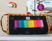 Rainbow Patchwork Sew Together Bag | project bag | makeup bag | toiletry bag | travel bag | large zipper pouch