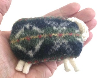 Pocket Hand Warmers Microwave Rice Bags Heating Pads Felted Sheep Up Cycled Sweater Wool Sheep Fair Isle Sheep Green Knit