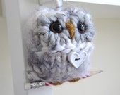 Christmas Ornament, Owl Ornament, Hand Knitted Ornament, Cream and Grey Owl, Home Decor
