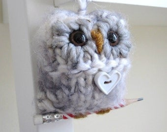 Valentine Ornament, Owl Ornament, Hand Knitted Ornament, Cream and Grey Owl, Home Decor