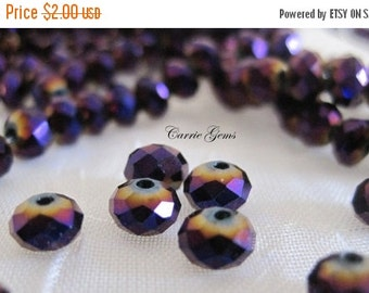 30% OFF SALE 20 pcs Chinese Crystal Purple AB Faceted Rondelle 6mm Beads