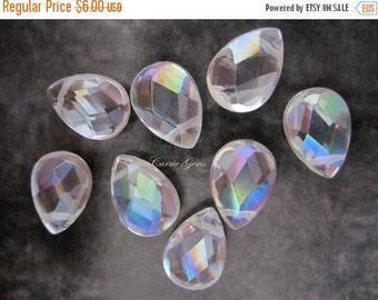 20% OFF ON SALE White Rock Crystal Teardrop Ab 10mmx14mm, 6 pcs, Gemstone Beads, Briolette Beads.