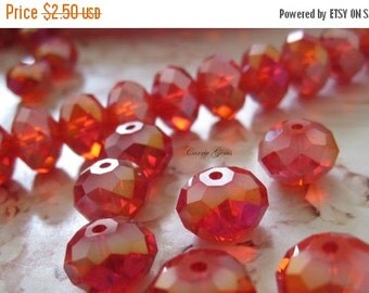 20% OFF ON SALE Chinese Crystal Red Faceted Round Ab 12mmx8mm Beads, 10 pcs