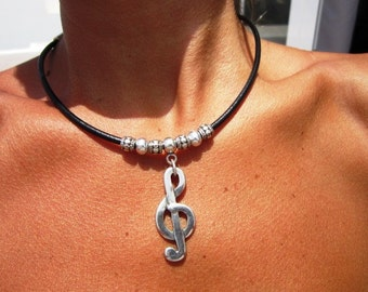 sol music note pendant necklace, choker necklace, handmade jewelry, pendant necklaces, silver necklaces, unique necklaces, leather necklace