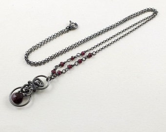Garnet necklace, wire wrapped jewelry, gemstone small pendant, sterling silver jewelry