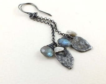 Sterling silver earring, labradorite earring, long dangle gemstone earring