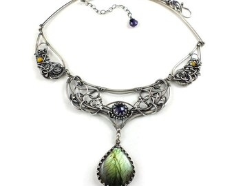 Luxury wire wrapped necklace, labradoite jewelry, ooak collar, statement necklace