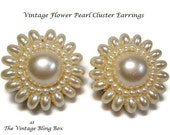 50s Gold Pearl Cluster Earrings with Rosette of Cream Colored Pearls - Vintage 50's Hand-wired Clip Earring Costume Jewelry