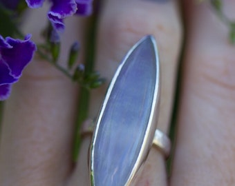 Large Marquise Moonstone Sterling Silver Ring size 7.25