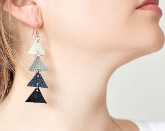 Arrow leather Triangle Dangle Earrings - Grey, white and black