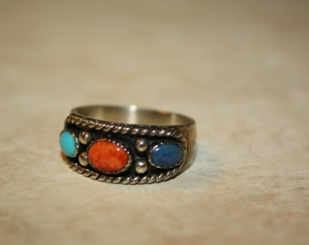 Caroline Pollack Sterling Silver Three-Stone (Turquoise, Coral, Lapis) Ring, Mint Condition, Size 9