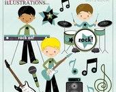 SALE Boys Rock Cute Digital Clipart for Card Design, Scrapbooking, and Web Design