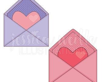 SALE Heart Envelope Cute Digital Clipart, Cute Envelope Clip art, Valentine Graphics, Letter, Heart Envelope Illustration, #070
