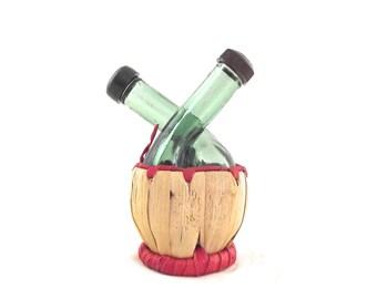Wine Bottle Shaped Salt and Pepper Shakers, Vintage Set in Green Glass with Basket Base (G1)