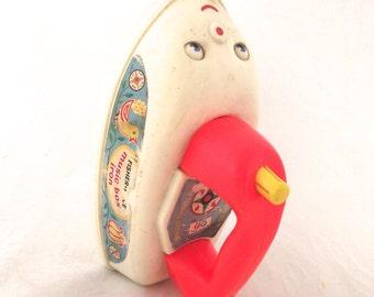 Fisher-Price Music Box Iron, Vintage Plastic Children's Pull Toy (L3)