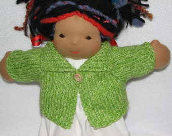 Doll Sweater for 13 inch Doll in Lime Green Heather Wool RTG