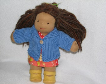 Waldorf Doll Sweater for 10 inch Doll in Blue Wool RTG