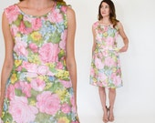 Reserved | 60s Floral Dress | Pink Sleeveless Shift Dress | Pink Party Dress, Medium