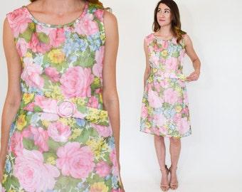 60s Floral Dress | Pink Sleeveless Shift Dress | Pink Party Dress, Medium