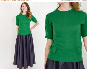 SummerS SALE 60s Green Sweater | Kelly Green Knit Wool Blouse | Short Sleeve Sweater | Small