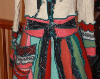 Beautiful Hand Crafted Katwise Inspired Fairy Pixie Coat made from Repurposed Recycled Sweaters