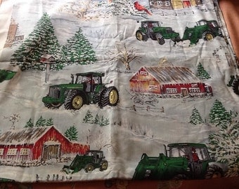 John Deere Fabric Winter Snow Barns Cardinals Tractors Farming
