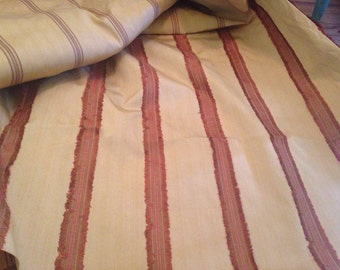 Striped Upholstery Fabric Fringed Rose Taupe Beige