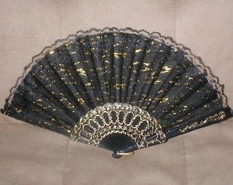 Vintage Black & Gold Lace Folding Fan