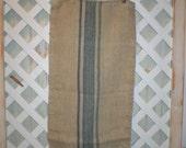 Antique French Blue Stripes Grainsack Beautiful Washable Linen