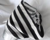 Wide Headband,  Yoga Headband,  Black & White Stripe, Cotton Knit,  Women and Teens,  Elastic Back
