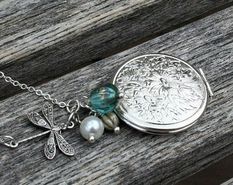 Dragonfly and Floral Locket Necklace, Dragonfly Necklace, Oval Locket Necklace, Sterling Silver