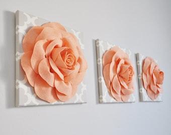 "Peaches and Creame Wall Decor Set of Three -Peach Roses on Neutral Gray Tarika Print 12 x12"" Canvas Wall Art- Flower Nursery Wall Decor Set"