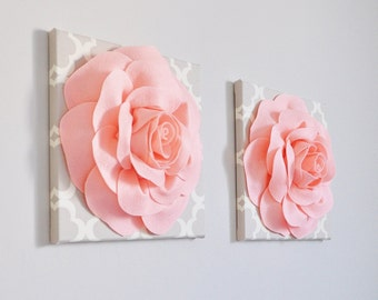 Peachy Pink Roses on Neutral Taupe/Gray Tarika 12 x 12 Canvases NEW COLOR - Pale Coral Nursery Decor