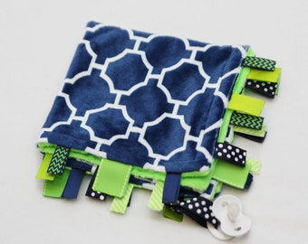 Baby Ribbon Tag Blanket - Minky Binky Blankie - Navy Geometric with Lime Green