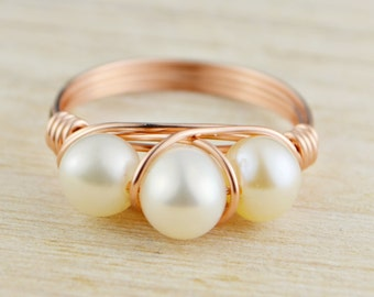 Three Pearls Ring - Rose or Yellow Gold Filled or Sterling Silver Wire Wrapped White Freshwater Pearls- Any Size 4,5,6,7,8,9,10,11,12,13,14